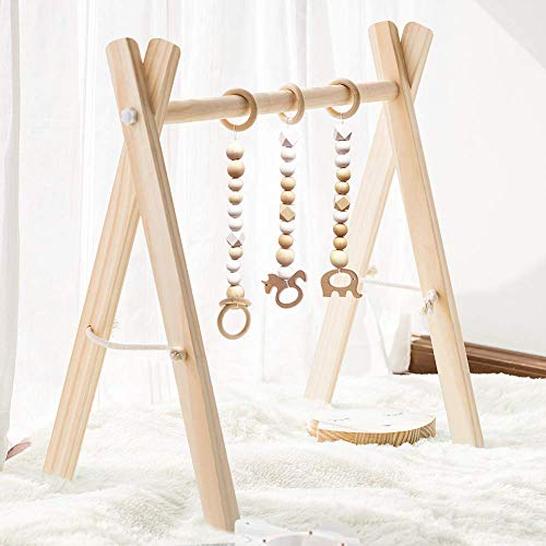 HAN-MM Wooden Baby Gym with 3 Wooden Baby Teething Toys Foldable Baby Play Gym Frame Activity Gym Hanging Bar Newborn Gift Baby Girl and Boy Gym (Natural Color)