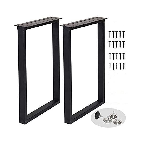 """Metal Table Legs Heavy Duty Square Tube Iron Desk Legs Set of 2 28"""" Height 18"""" Wide Industrial Furniture Legs,Dining…"""