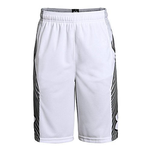 Under Armour Boys Space The Floor Shorts, White (100)/Black, Youth - Shorts Basketball Cloth