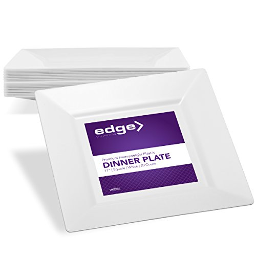 EDGE PLASTIC PARTY DISPOSABLE PLATES | 11 Inch White Hard Square Large Wedding Dinner Plates, 20 Ct | Elegant & Fancy Heavy Duty Hard Party Supplies Plates for Holidays & Occasions (Re 11 Inch Plate)