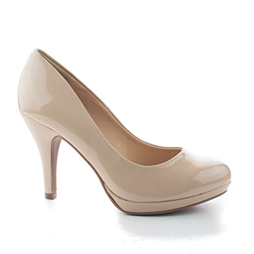 Jack Beige Patent Round Toe Extra Cushioned Comfort Classic Dress Work Pumps-7 - Beige Patent Leather Pumps