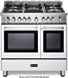 Verona VEFSGG365NDW 36'' Pro-Style Gas Range with 5 Sealed Burners 2 Turbo-Electric Convection Ovens Manual Clean Infrared Broiler Bell Timer and Storage Drawer in