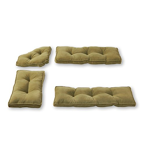 Greendale Home Fashions 4-Piece Nook Cushion Set Hyatt, Moss (Set Breakfast Cushions Nook)