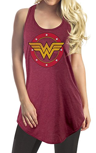DC Comics Wonder Woman Logo Flowy Cover Up (Large, Heather Red)