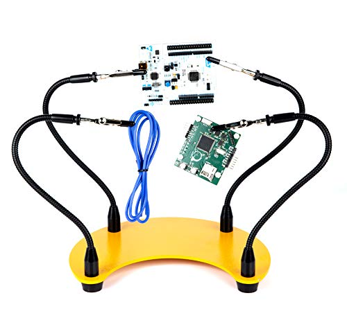 Fstop Labs Helping Hands Soldering Tool, Third Hand Soldering PCB Holder Tool, Four Arms Helping Hands Crafts Jewelry Hobby Workshop Helping Station Non-Slip Steel Weighted Base (Best Soldering Helping Hands)