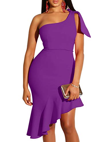 Mokoru Women's Sexy One Shoulder Sleeveless Ruffle Bodycon Midi Club Party Dress, Small, Purple