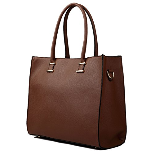 Shoulder Brown Leather Style Brown Ladies Bag Case Square Pw66z