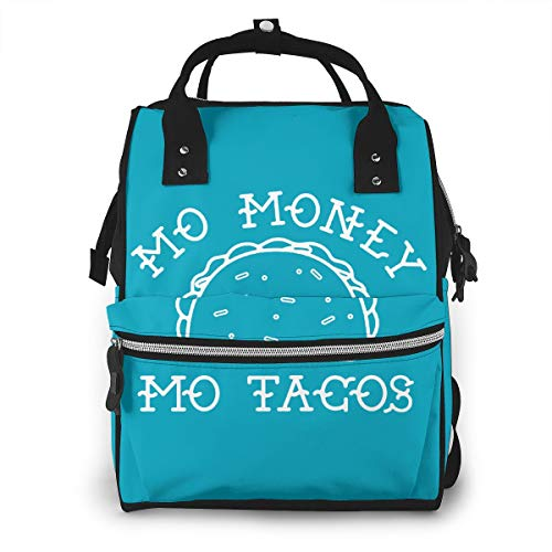 Mo Money Mo Tacos Mummy Backpack 11.1x 7x15.7 In Twill Waterproof Canvas Production With Waterproof Pockets.Suitable For Babies To Play With A Lot Of Things When Going Out.