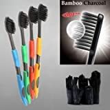 4pcs Nano Bamboo Charcoal Toothbrushes Antibacterial Soft Superfine Brush