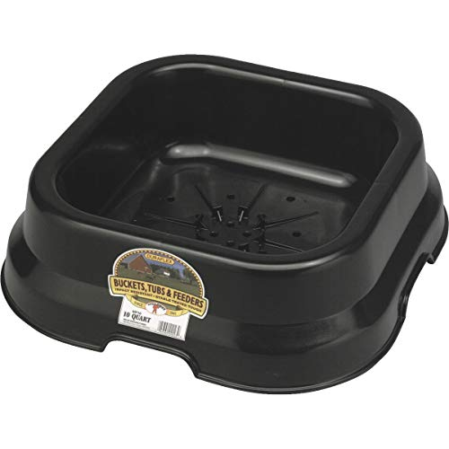 Little Giant FP10BLACK Dura-Flex Plastic Feed Pan, 10-Quart, Black