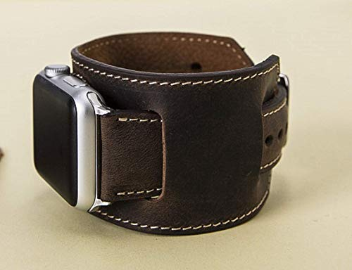 Watch Ships - Cuff Apple Watch Band 42mm 44mm, Brown, Apple Watch Band 38mm, 40mm iWatch Leather Band, for Man or Women,Handmade Genuine Leather Apple Watch Strap Engraving Avaliable, READY to SHIP
