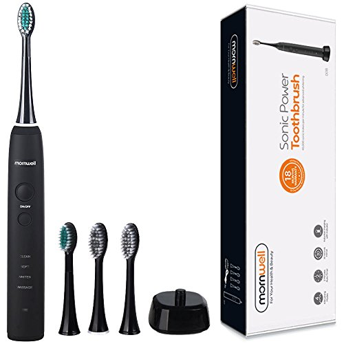 Mornwell D01B Rechargeable Electric Toothbrush with 2 Mins Timer, 4 Brushing Modes for Sensitive Teeth Cleaning & Gum Massaging, Two Weeks Working, Black