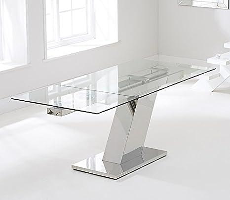 Swagger Lamont - Mesa de Comedor Extensible de Cristal (140 cm ...
