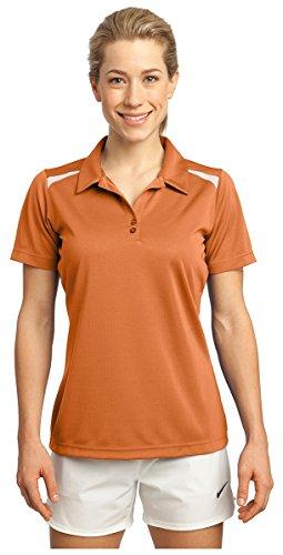 Sport-Tek Women's Vector Sport Wick Polo S Texas Orange/White