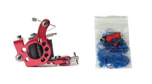 Technical Tattoo Supply Red Telephone Dial - Professional Tattoo Machine Plus 100 Blue Rubber Bands