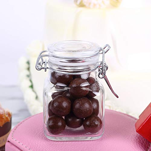 Efavormart 12 Jars 4oz Clear Mini Square Glass Jars W/Glass Lids and Metal Bails for Favor Candy Buffet Event Decor ()