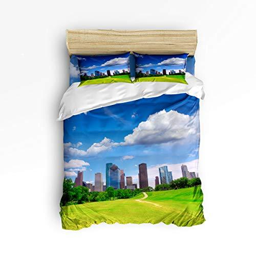 BMALL Duvet Cover Set Twin Size, Houston Dezhou Urban Design Skyscrapers in The Cloudy Sky Digital Print Soft Stylish Home Decor Duvet Cover Set ()