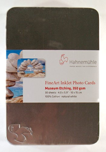 Hahnemuhle Museum Etching FineArt Inkjet Photo Cards 4x6 In. with Tin Box (30 S