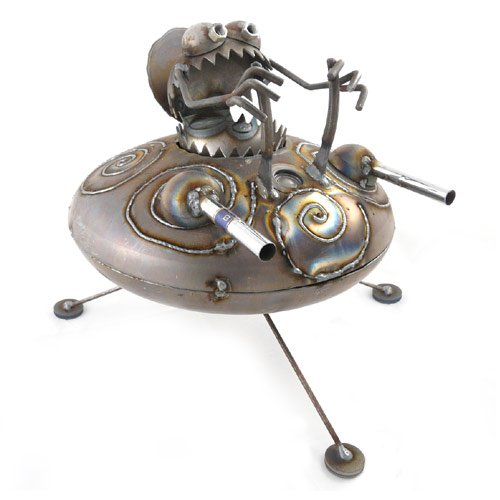 Gnome-Be-Gone UFO Metal Sculpture