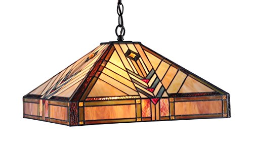 - Chloe Lighting CH33422IM18-DH2 Edward Mission 2-Light Ceiling Pendant, 18-Inch, Multi-Colored