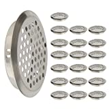 FOCCTS 20PCS 2-1/8 Inch(53mm) Circular Stainless Steel Air Vent Hole Mesh Hole Silver Tone for Kitchen, Bathroom, Cabinet, Wardrobe, Shoe Cabinet, and Decorative Cabinet