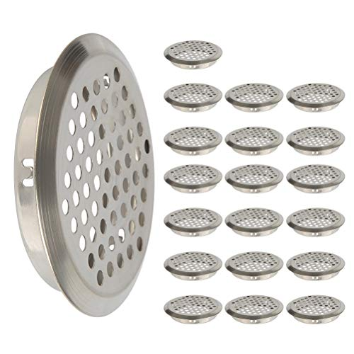 (FOCCTS 20Pcs Air Vents 2 Inch(53mm) Circular Soffit Vent Stainless Steel Round Vent Mesh Hole Louver for Kitchen, Bathroom, Cabinet, Wardrobe and Shoe Cabinet)