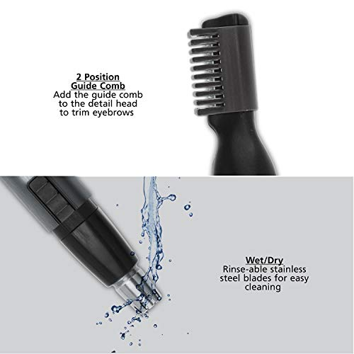 41Pv fCgwkL - Wahl Micro Groomsman Personal Pen Trimmer & Detailer for Hygienic Grooming with Rinseable, Interchangeable Heads for Eyebrows, Neckline, Nose, Ears, & Other Detailing - Model 5640-600