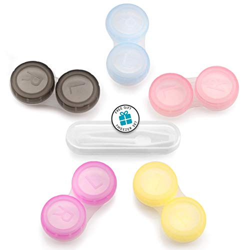 G&R USA -15 Pack Colourful Contact Lens Case Holder + Tweezer Set from G&R USA