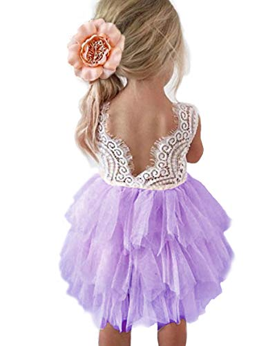 Backless A-line Lace Back Flower Girl Dress (0-6 Month, Purple) -
