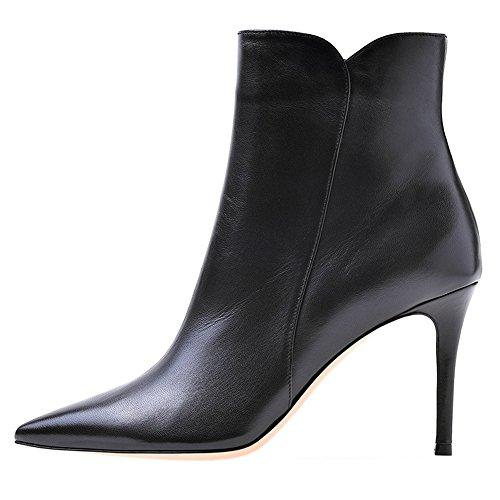 Short Heels Pu Spring Women's Middle MERUMOTE Thin Ankle Booties Black Zipper Boots Dress qT1U8xU