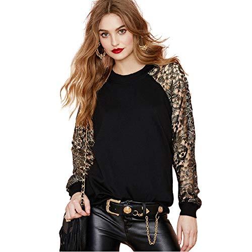 Tondo Tag Ricamato Top Nero EU in Pullover Moda Colletto Felpa M L Donna XFentech ynwqt0B87y