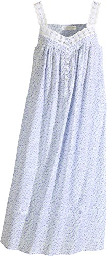 The Vermont Country Store Women Women's Eileen West Lavender Field Cotton Nightgown XL Lavender Floral