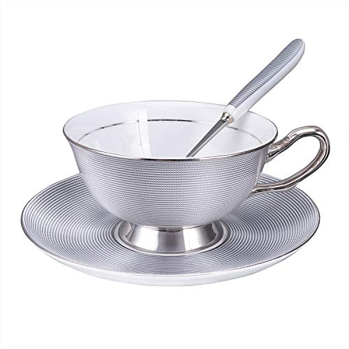 Luxury Tea Cup Set, Silver Coffee Cup and Saucer and Spoon Fine Bone China 8 oz Tea Cups, Faliilove