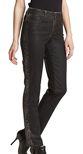 NYDJ Not Your Daughters Jeans Coated Black Tuxedo Stripe Snake Skin Petite Jean Pants -