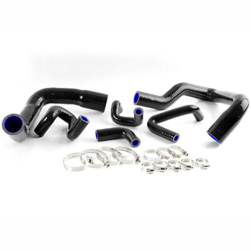 Silicone Radiator Coolant Hose Pipe Kit Clamps Black For 1986-1993 Ford Mustang GT LX Cobra 5.0 ()