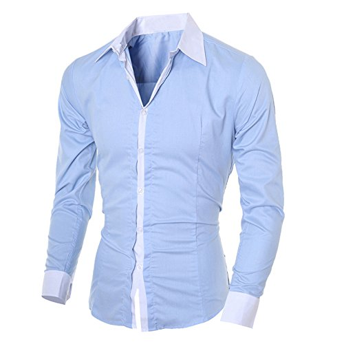 Birdfly Men Dress Shirts Slim Fit Collar Stays Long Sleeve Casual Dress Shirt Tops (2XL, Blue) from Birdfly