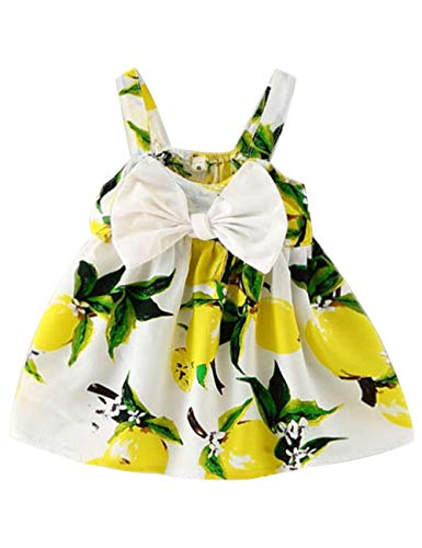 Yoveme Infant Baby Girl Clothes Cute Floral Print Ruffles Romper Summer Clothes + Headband (D-Yellow, 12-18 Months)