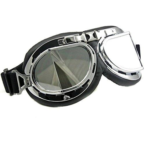 DLLL Motorcycle Googles Raf Aviator Vintage Pilot Biker Cruiser Pilot Flying Goggles Motocross Cruisers Windproof Sun UV Wind Eye Protect Helmet Mask Eyewear Sports Protective Safety - Glasse Aviator
