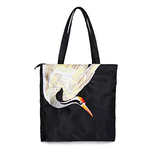 Togood Nylon Tote Bag Artistic Design with Embroidery (Crane) -