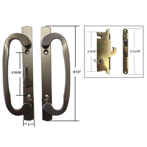STB Sliding Glass Patio Door Handle Set with Mortise Lock, Bronze, Non-Keyed, 3-15/16