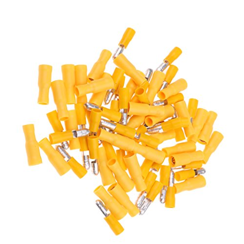 MagiDeal High Quality 100Pieces 12-10Gauge Wire Terminals Wire Crimp Connector Yellow: