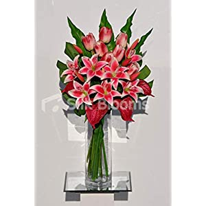 Silk Blooms Ltd Artificial Red Dyed Oriental Lily and Anthurium Arrangement w/Tulips and Leaves 98