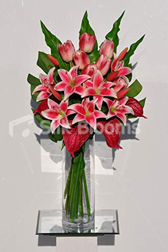 Silk-Blooms-Ltd-Artificial-Red-Dyed-Oriental-Lily-and-Anthurium-Arrangement-wTulips-and-Leaves