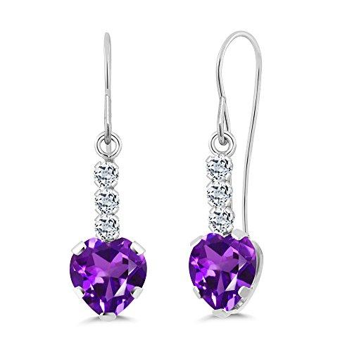 (Gem Stone King 1.72 Ct Heart Shape Purple Amethyst White Topaz 14K White Gold Earrings)