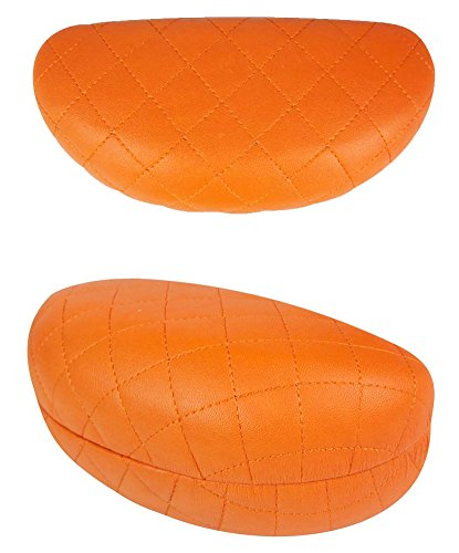 JAVOedge Orange Quilted Pattern Hard Clamshell Sunglass Case Plus Bonus Cleaning Cloth