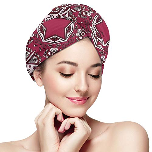 Quick Dry Hair Wrap Towels Turban,Maroon Authentic Asian Universe And Microcosm Icon With Tribal Effects Mystic Locus Print,Absorbent Shower Cap (Pub At The End Of The Universe)