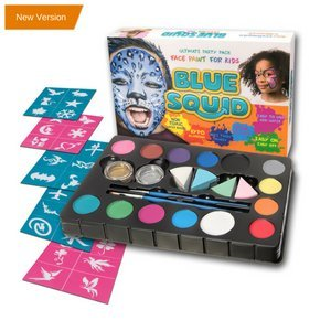 Blue Squid Face Paint Kit | 14 Color, 30 Stencils, 4 Professional Sponges, 2 Brushes, 2 Glitters | Best Quality Ultimate Party Pack for Kids | Vibrant Water Based Painting Set Non-Toxic FDA Approved (Halloween Face Paint Ideas Easy)