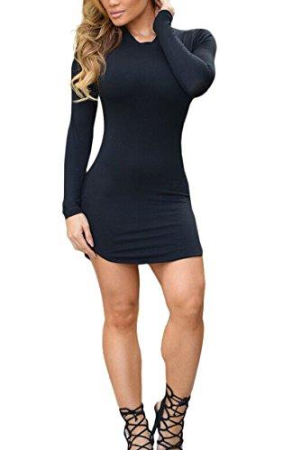 Romastory Women's Winter Casual Long-Sleeved Round Pendulum Club Mini Bodycon Dress(S, Black)