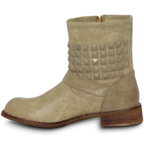 Metallspenne Boots Biker Kvinners Med Innredning 3 Vintage Størrelse Cowboy Klinke Caspar IqxUwYOpO