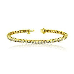 Gold Round Cut Diamond Tennis Link Bracelets